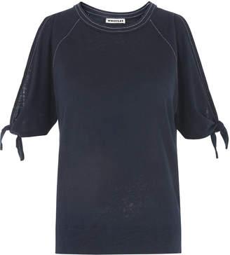 Whistles Stitch Tie Cuff Linen T-shirt