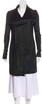 Rick Owens Leather Knee-Length Coat