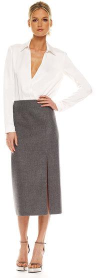 Michael Kors Flannel Slashed Skirt &  Charmeuse Bodysuit