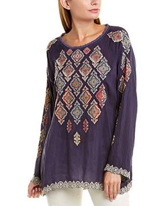 Johnny Was Women's Embroidered Crewneck Blouse