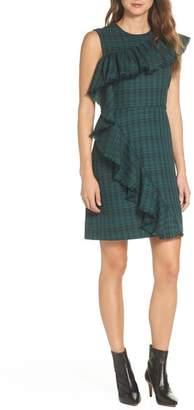 Chelsea28 Ruffle Detail Plaid Sheath Dress (Regular & Petite)