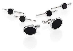 David Donahue Men's Silver Onyx Stud Set