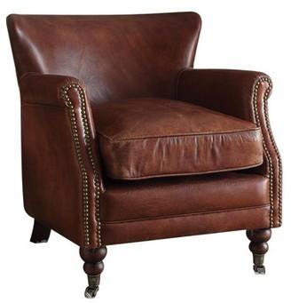 ACME Furniture ACME Leeds Accent Chair, Vintage Dark Brown Top Grain Leather