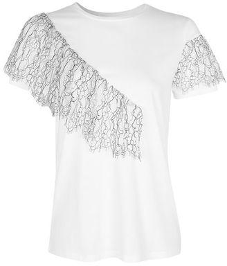Topshop Lace ruffle t-shirt