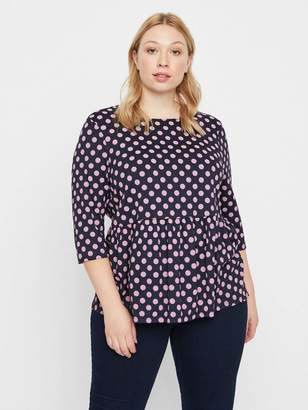 Junarose T-Shirt w/ Polka Dots in Navy Blue Size Large Polyester