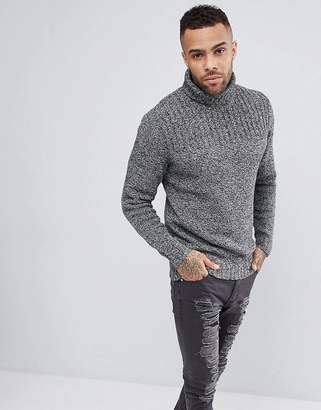 Jack Wills Colthurst Roll Neck Sweater In Black