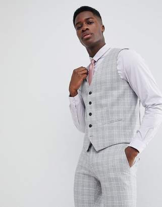 Selected Skinny Fit Vest In Gray Check