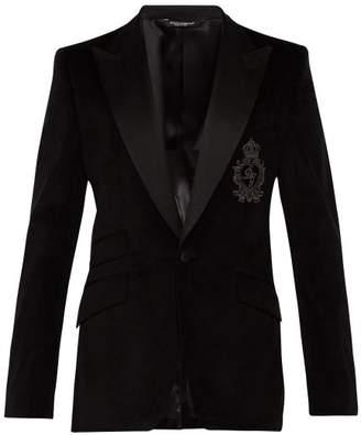 Dolce & Gabbana Monogrammed Black Velvet Blazer - Mens - Black