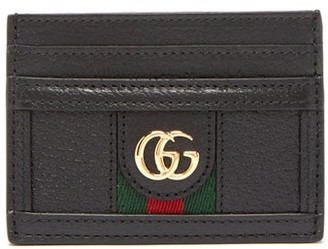 Gucci Ophidia Gg Plaque Leather Cardholder - Womens - Black