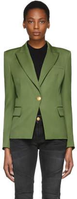 Pierre Balmain Khaki Classic Single-Button Blazer