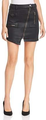 Hudson High Rise Moto Waxed Denim Skirt