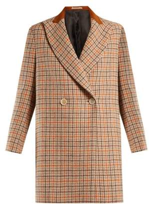 Golden Goose Vanda Double Breasted Checked Wool Coat - Womens - Orange Multi