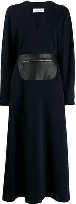 Lanvin long wool dress with leather belt