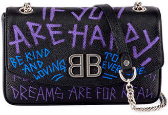 Balenciaga BB 'If you are happy' Graffiti Leather Wallet on Chain