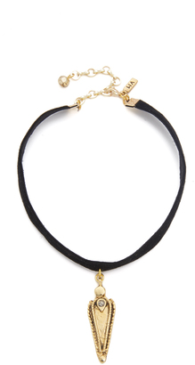 Vanessa Mooney Black Velvet Choker with Crystal Studded Pendant $48 thestylecure.com