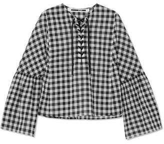McQ Lace-up Gingham Cotton-voile Top - Black