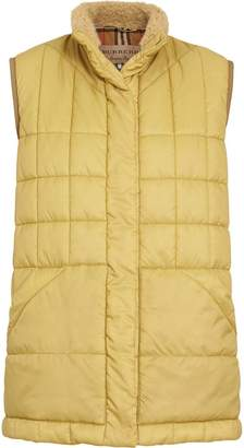Burberry Faux Shearling Collar Lightweight Quilted Gilet