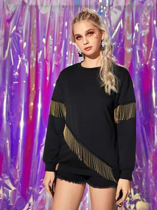 Shein Contrast Fringe Drop Shoulder Sweatshirt