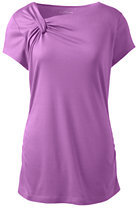 Lands' End Women's Short Sleeve Knot Neck Ruched Top-Crystal Amethyst Stripe $30 thestylecure.com
