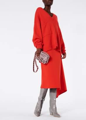 Tibi Cashmere V-Neck Patch Pocket Oversized Pullover