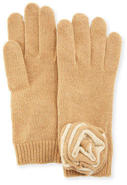 Portolano Knit Floral Applique Gloves