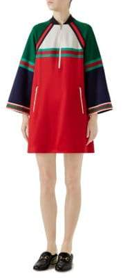 Gucci Long-Sleeve Jersey Stripe Half-Zip Dress