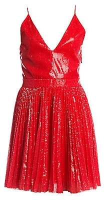 MSGM Women's Pleated Sequin Flare Dress
