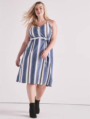 Lucky Brand STRIPE BUTTON FRONT DRESS