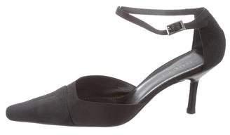 Gucci Satin Ankle Strap Pumps