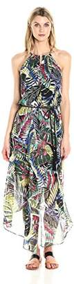 London Times Women's Sleeveless Halter Chiffon Maxi Dress