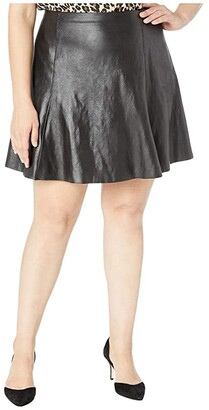 Spanx Plus Size Faux Leather Skater Skirt
