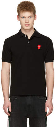 Comme des Garcons Black Long Heart Patch Polo