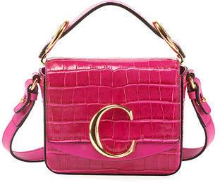 Chloé C Mini Croc-Embossed Calfskin Crossbody Bag