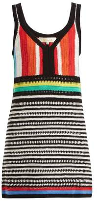 Diane von Furstenberg Striped Crochet Knit Cotton Dress - Womens - Multi Stripe