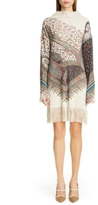 Etro Fringe Trim Long Sleeve Wool & Cashmere Sweater Dress