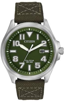 Citizen Men's Eco-Drive Military Inspired Green Nylon Strap Watch, 44mm