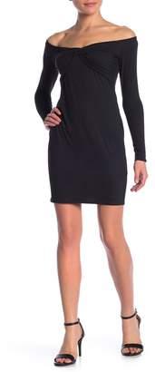 Material Girl Off-the-Shoulder Front Twist Dress