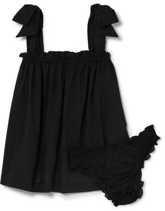 Le Petit Trou Lou Ruffled Cotton Pajama Set - Black