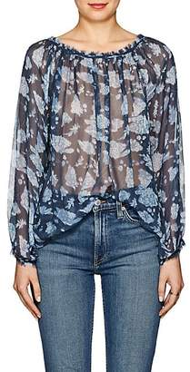 Raquel Allegra Women's Floral Silk Blouse - Navy