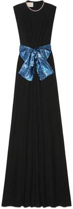 Gucci Viscose jersey gown with sequin bow