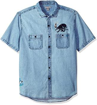 Michael Bastian Men's S/S Octopus Embroidered Denim Sportshirt
