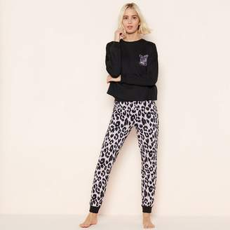 2643a0cd15 Lounge   Sleep - Black Leopard Print Pyjama Set