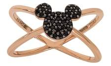Disney Mickey Mouse Rose Gold & Black Nano Stone Cross Ring