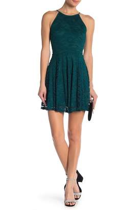 Love, Nickie Lew Cut Away Lace Halter Skater Dress