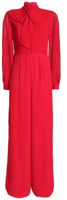 Mikael Aghal Pussy-Bow Chiffon-Paneled Crepe De Chine Jumpsuit
