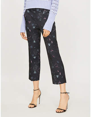 Zadig & Voltaire Posh Jac tattoo cropped high-rise jacquard straight-leg trousers