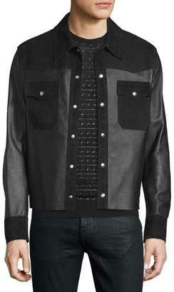 Costume National Kaban Snap-Front Leather Jacket, Black $2,700 thestylecure.com