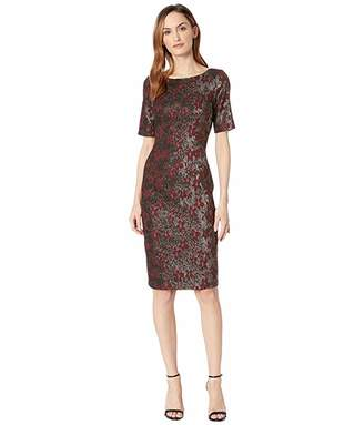 Adrianna Papell Nadia Metallic Jacquard Sheath Dress with Elbow Sleeves and Bateau Neckline with V-Back.