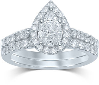 MODERN BRIDE 1 CT. T.W. Fancy-Cut Diamond Pear-Shaped 14K White Gold Bridal Ring Set $7,333 thestylecure.com