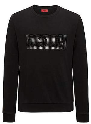 HUGO BOSS Reverse-logo sweater in interlock cotton